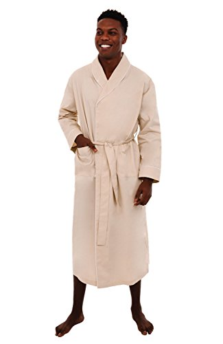 Alexander Del Rossa Mens Cotton Robe, Lightweight Woven Bathrobe, Large Taupe (A0715TPELG) ()