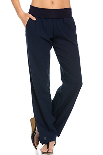 Poplooks Women's Comfy Fold Over Linen Pants Navy Plus Size 2X