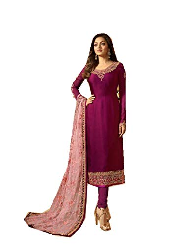 Delisa Designer Wedding Partywear Silk Embroidered Salwar Kameez Indian Dress Ready to Wear Salwar Suit Pakistani LTN (Purple, MEDIUM-40) ()