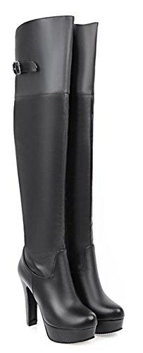 Noir1 Noir Cavaliers Bloc Talons Aisun Classique Femme Bottes 0wx8qgUF
