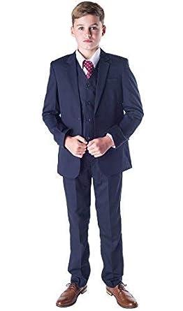 Romario - Traje azul marino para niños, traje de niños para bodas, traje para paje de boda, para baile de fin de curso, tallas de 3–6 meses a 14 años
