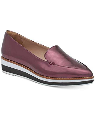 DKNY Womens Seaport Platform Leather Pointed Toe Loafers, Bordeaux, Size 6.0