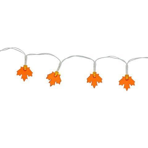 LED Lights 20 Count Battery-Operated Strands of Fall Autumn Harvest Maple Leaf Shaped LED Lights, 3 ft. BUNDLE OF (Halloween String Lights Walmart)