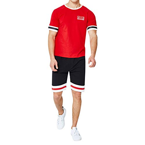 Mens Slim Fit Short Sleeve T-Shirts and Shorts 2 Piece Set Stripe Patchwork Workout Tracksuits Sportwear(Red,XL)