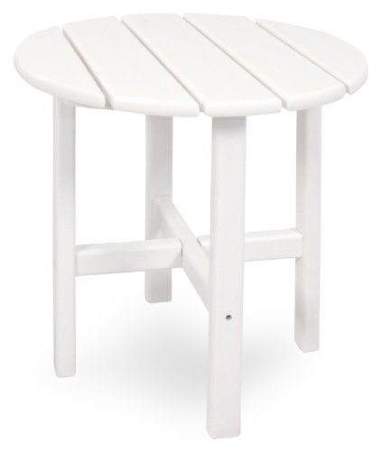 Ivy Terrace IVRT18WH Classics Round Side Table, 18-Inch, White (Adirondack Round Table Side)