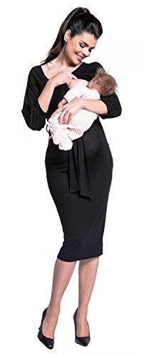 Zeta Ville -Premamá midi vestido de lactancia en capa cuello redondo-mujer -604c Negro