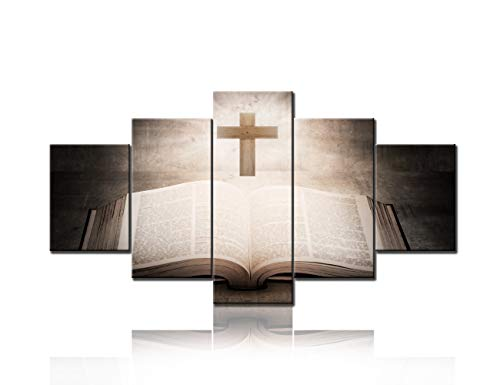 TUMOVO The Holy Bible with Wooden Cross Christian Wall Art Painting The Picture Print On Canvas Religion Pictures for Catholic Wall Crucifix Home Decor Decoration Gift Ready to Hang(60''Wx32''H)