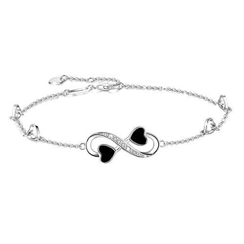 (OneSight Infinity Ankle Bracelet for Women, 925 Sterling Silver Charm Adjustable Anklet, Large Bracelet (White-Gold-Plated-Sterling-Silver))
