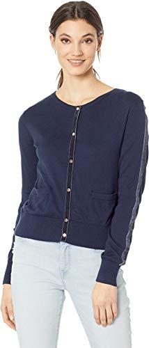 Juicy Couture Women's Soft Woven Cardigan w/Velvet Trim Regal Large