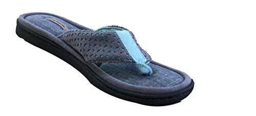 Dearfoams Women's Mixed Material Thong Sandal,Excalibur Microfiber Suede,US 7 M