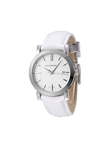 Burberry LUXURY RARE Watch Unisex Men Womens Heritage Collection White Patent Authentic Leather BU1380