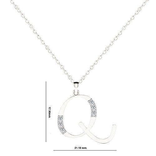 "Libertini Pendentif argent 925 serti de Diamant en forme de ""Q"" Alphabet"