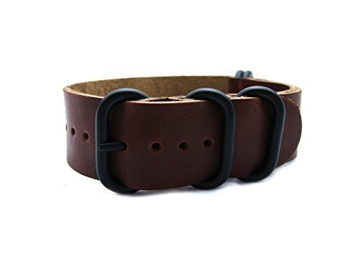 HNS-20mm-Handmade-Antique-Vintage-Dark-Brown-Calf-Leather-Watch-Strap-with-5-PVD-Coated-Ring-ZUL037