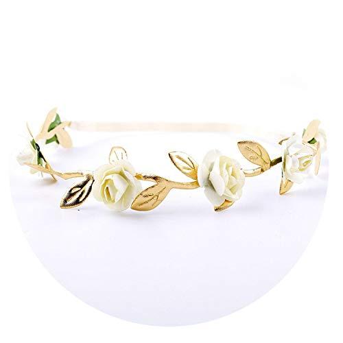(Newborn Baby Floral Crown Headband Garland Baby Girl Kid Novel Garlands Gold Leaves Hair Band Wreath Rose Flower Wreath Headwear,As Photo Show4)