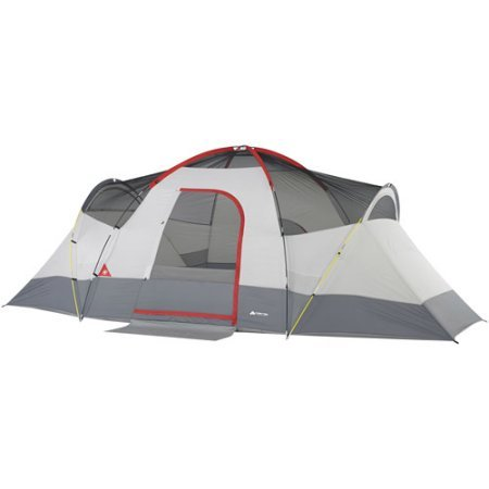 9 Person Weatherbuster TM Dome Tent with 4 windows provide cross ventilation in Red White DarkGrey