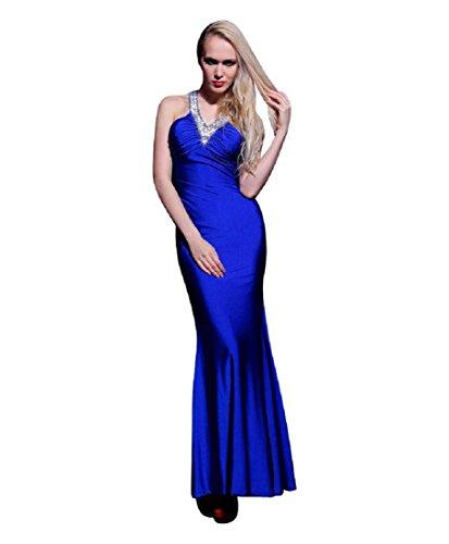 Pailletten Blau Halfter beauty Lang Party Gürtel Kleider V Damen formale Blau Figurbetont emily Ausschnitt Slim qHxnSTx