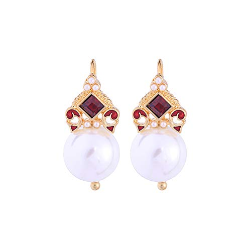 Belmarti Handmade Christmas Dangle 925 Sterling Silver Stud Earrings Holiday Party Drop Earrings Vintage Colorful Cute Christmas Costume Jewelry for Women Girls (Pearl) ()