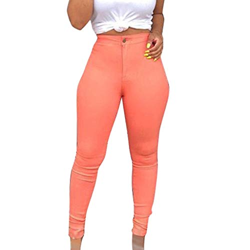 (WUAI Plus Size Women's Elastic Waist Pencil Pants Stretch Skinny Leggings Pants Trousers S-XXXL(Pink,XX-Large)