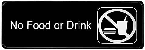 Alpine Industries No Food or Drink Sign – High Visibility Black Outdoor Plastic Placard w/Adhesive Back - Easy Stick Door & Wall Post for Office Buildings, Restaurants & Hotels