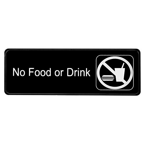 High Visibility Sign - Alpine Industries No Food or Drink Sign - High Visibility Black Outdoor Plastic Placard w/Adhesive Back - Easy Stick Door & Wall Post for Office Buildings, Restaurants & Hotels