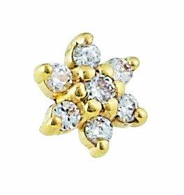 Amazoncom Body Gems 14kt Gold Micro Dermal Top 7 Stone CZ Flower