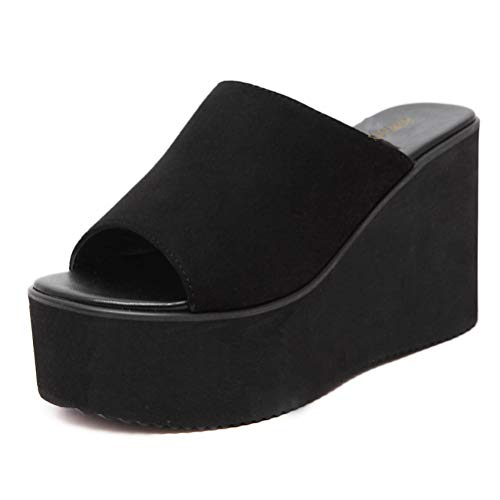 (2019 Women Wedge Sandals Basic Solid Faux Suede Platform Wedge High Heel Slippers Thick Bottom Sole Shoes Black)