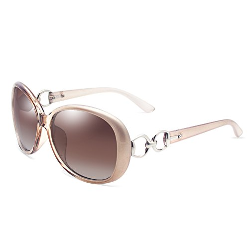VeBrellen Luxury Women Polarized Sunglasses Retro Eyewear Oversized Goggles Eyeglasses (Champagne Frame With Brown Lens, 60) - 130 Mm Eyeglasses