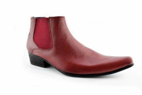 fb65a93fdd2 Paolo Vandini Red Leather Men's Winklepicker Chelsea Boots Pointed Ankle  Boot[Men UK 9 EU