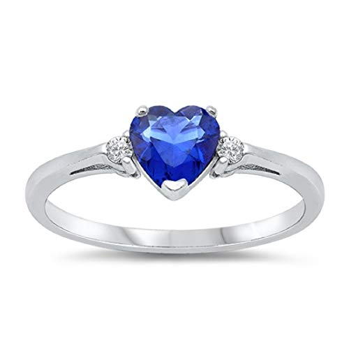 Wedding Engagement Heart Promise Ring Simulated Blue Sapphire Round Cubic Zirconia 925 Sterling Silver, Size - 6