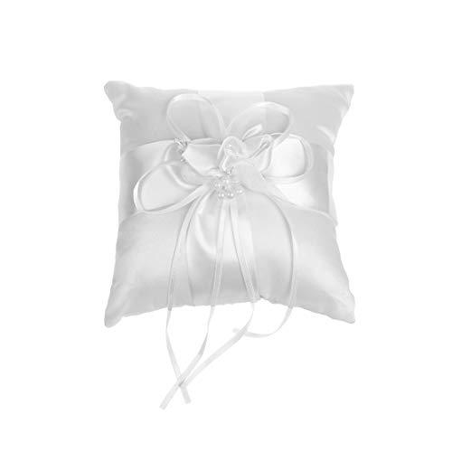 COSMOS Satin Bridal Wedding Ring Bearer Pillow Cushion Bearer with Ribbons, 6 x 6 -