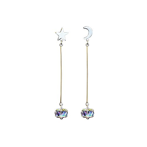 - Duseco Star and Moon Crystal Dangle Earrings Asymmetric 925 Sterling Silver Korean Style Luxury Fashion for Woman