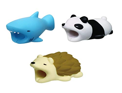 (Cable BITE Animal Bite CHOMPERS Cable Bites Cute Animal Designs for Mobile Cellphone Smartphone Laptop Compatible with iPhone iPad Android Lightning USB Type-C Cord Charger Protector 3 Pack by STMT)
