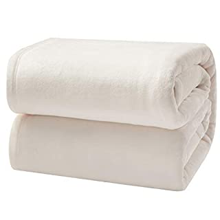 """Bedsure Flannel Fleece Blanket King Size (108""""x90""""), Cream - Lightweight Blanket for Sofa, Couch, Bed, Camping, Travel - Super Soft Cozy Microfiber Blanket"""