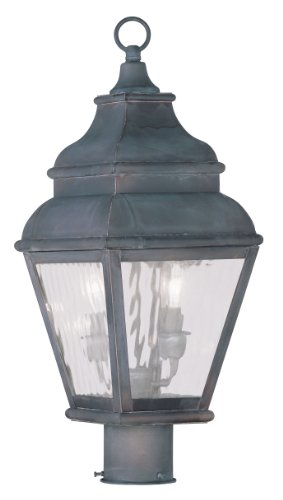 Livex Lighting 2603-61 Exeter 2-Light Outdoor Post Head, (Post Mounted Charcoal)