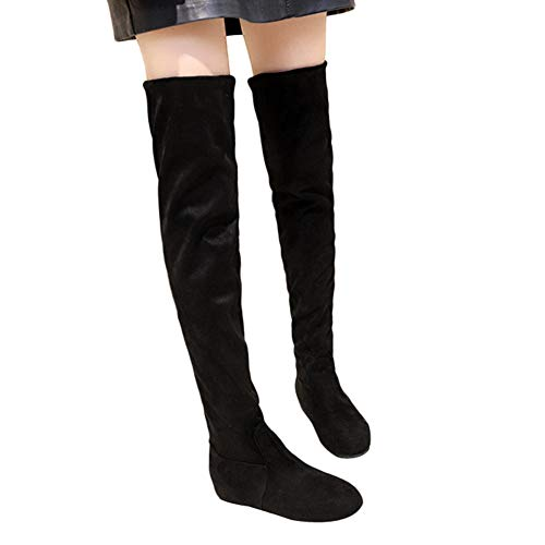 Women Snow Boots Above Knee Stretchy Suede Thigh High Round Toe High Boots by Lowprofile
