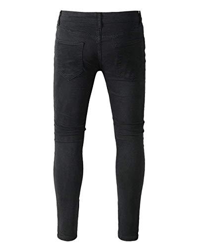 Nero Slim Uomo Neri Buco Pantaloni Lunghi Con Casual Strappati Da Vintage Jeans Stretch Semplice Stile ZyYq6wI