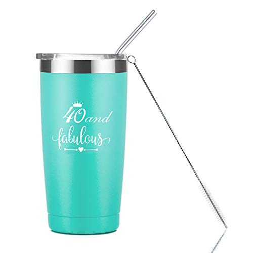 40 Year Old Birthday Gifts for Women Turning 40 | 20oz Mint Insulated Tumbler with Lid and Straw | Best Birthday Gift Ideas for Husband Wife Aunt Friend | Stainless Steel Beers Mug Cup Man Woman