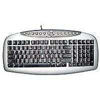 A4 Tech KB-21, Kablolu Multimedya Klavye, Q Türkçe, PS/2 bağlantı, Gümüş/Siyah