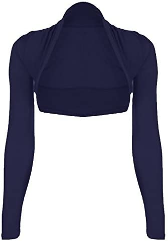 Womens Plus Size Plain Long Sleeve Cropped Ladies Shrug Bolero Cardigan Top