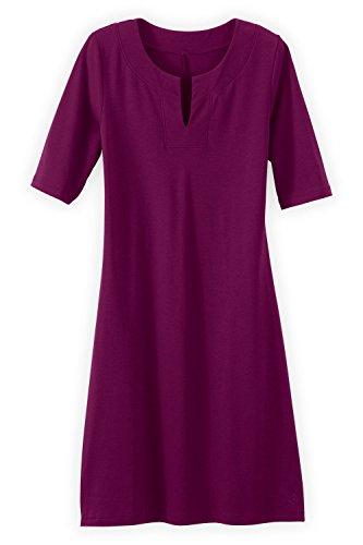 Fair Indigo Fair Trade Organic Split Neck Dress (M, Boysenberry) (Dress Pima Cotton)