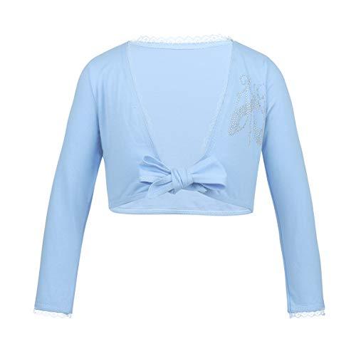 - iEFiEL Kids Girls Front Knot Shrug Ballet Dress Sweater Cardigan Top Sky Blue Cotton 7-8