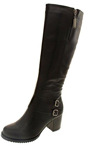 Betsy Mujer rodilla botas altas de cuero de imitación Negro