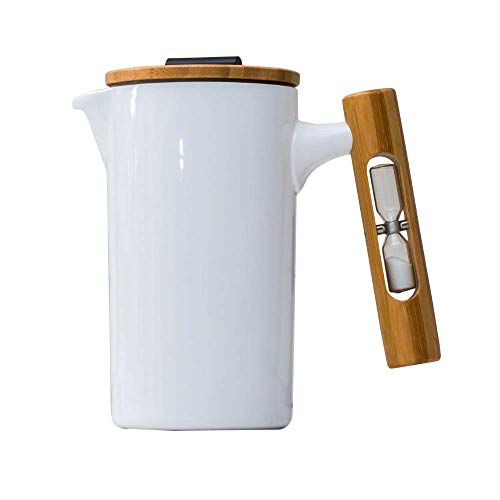 StramperPress| French Press| Ceramic French Press| HourGlass Timer| (White) 2019 (Best French Press Coffee Maker 2019)
