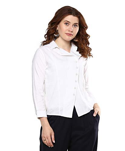 Meraki Off White Solid Linen Stretch Boxy Shirt