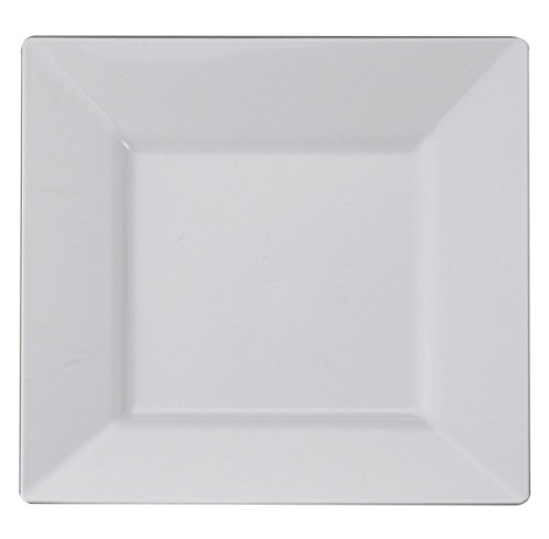 "Kaya Collection – White Square 9.5"" Dinner Plates - Fancy Disposable - Deluxe Quality - Hard Plastic - For Party's And Weddings (20 Count)"