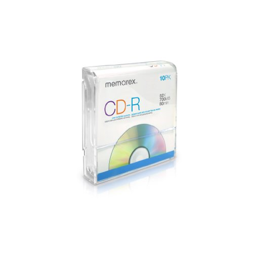 Memorex 32020015635 CD-R 52x 700MB 80 Min Discs in Paper Sleeves, 10 Pack