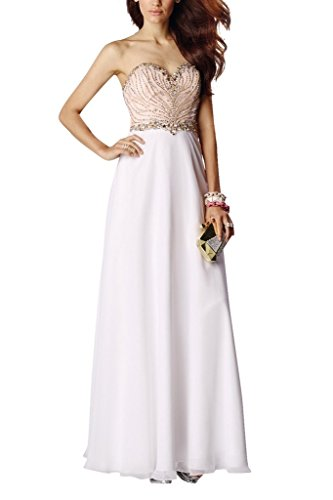 Charm Bridal white sequins chiffon sequin summer dress Prom Party dresses long -14-White by Charm Bridal