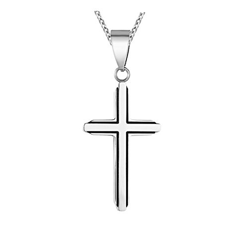 CHOOOICE Stainless steel silver tone Cross Necklace Faith retro Crucifix Pendant with 22'chain - Retro Cross Necklace