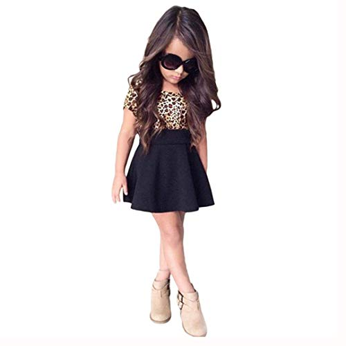 EISHOW Toddler Baby Little Girls Dresses Adorable Summer Kids Short Sleeve Leopard Print Splice Skater Dress Clothes (Black, 8-9 Years) ()