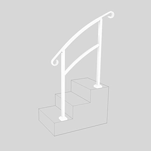 InstantRail 3-Step Adjustable Handrail (White) (Concrete Patio Install Paver)